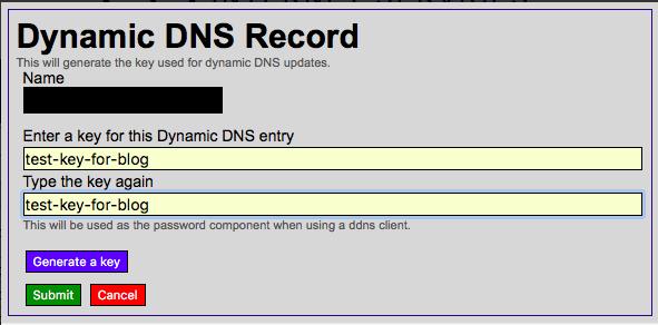 Окно создания ключа для DDNS-записи
